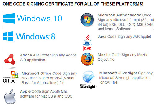 Code Signing Certificates for all Platforms