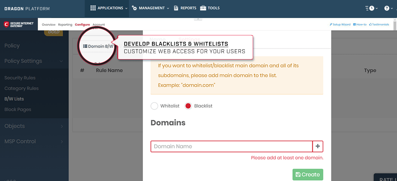 Develop blacklist and whitelist