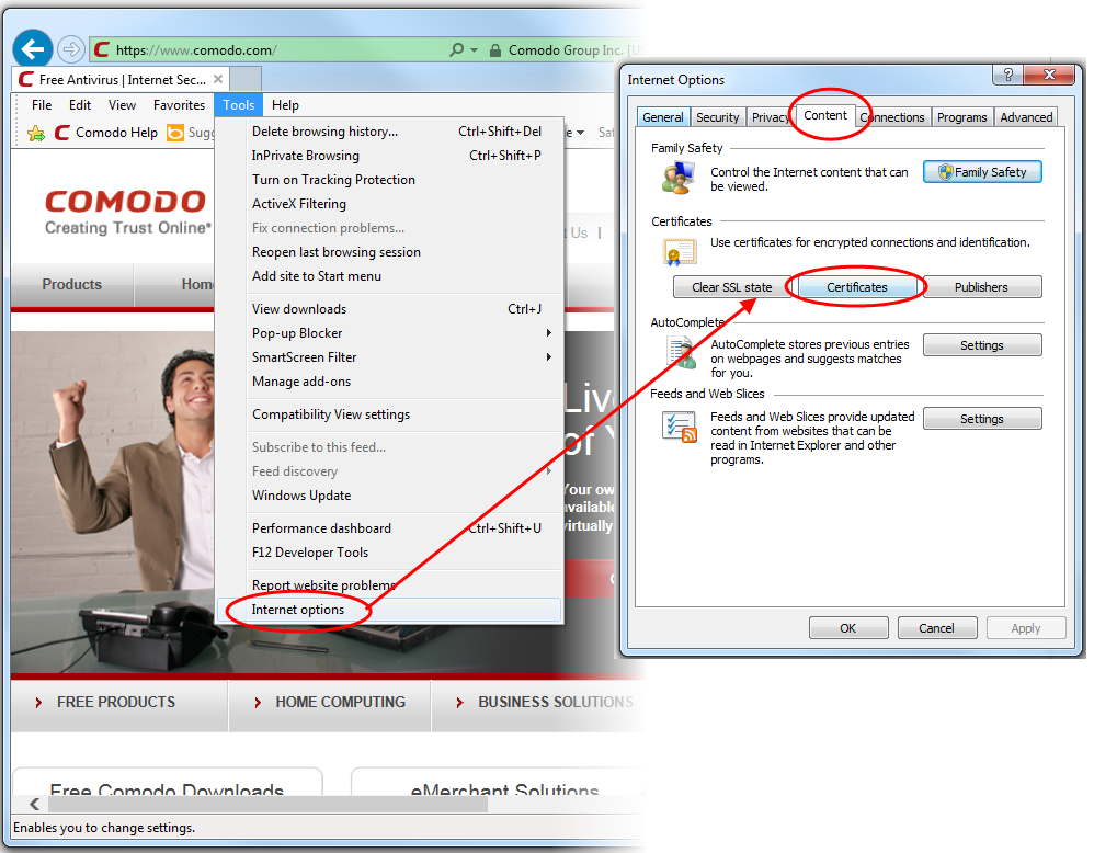 Import and export your CPAC using Internet Explorer | Comodo