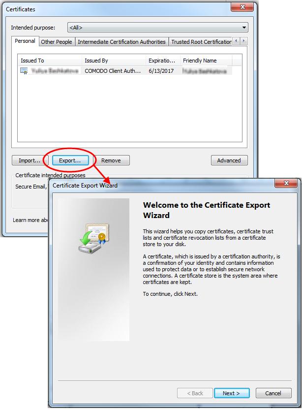 Import and export your CPAC using Internet Explorer | Comodo